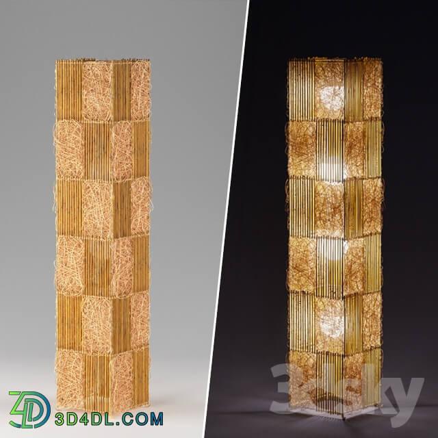 Floor lamp - Bamboo rattan floor lamp