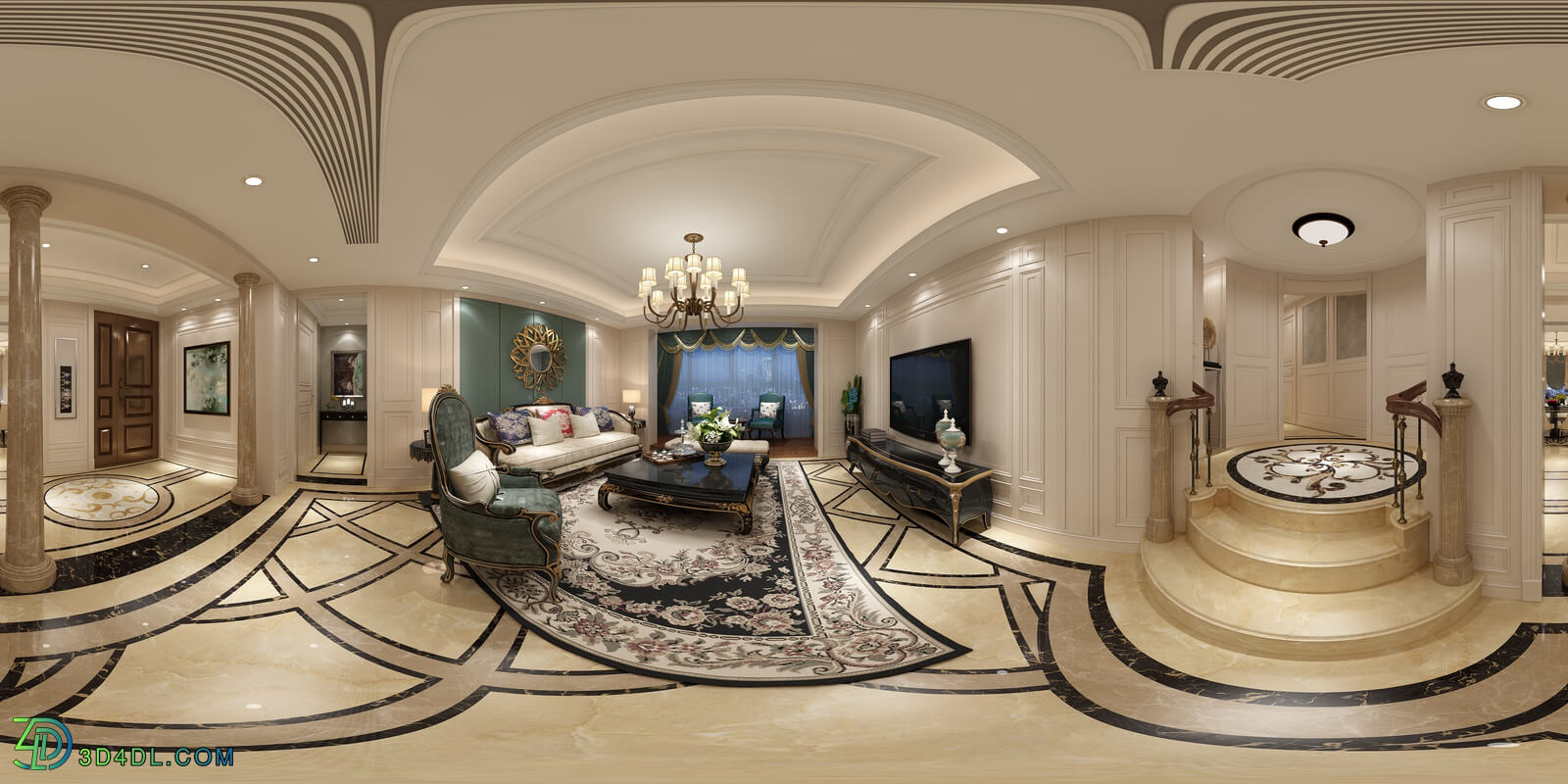 3D66 360° 2017 Living Dining Kitchen Room European Styles Vol 1 E083