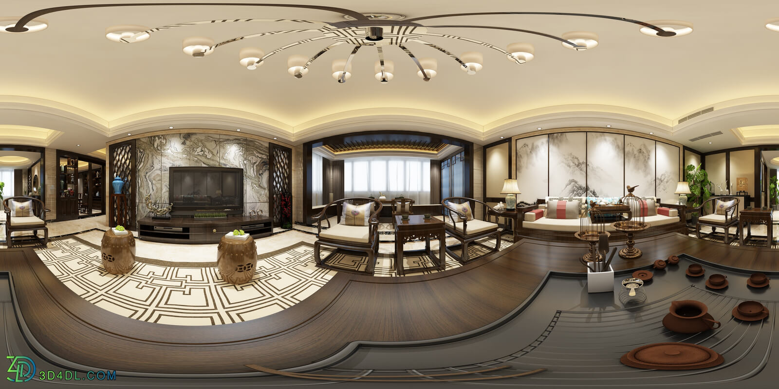 3D66 360° 2017 Living Dining Kitchen Room New China Styles Vol 1 HX001