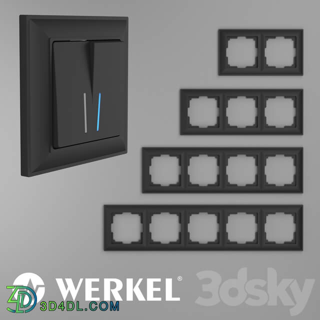 Miscellaneous - OM Plastic frames for sockets and switches Werkel Fiore Black