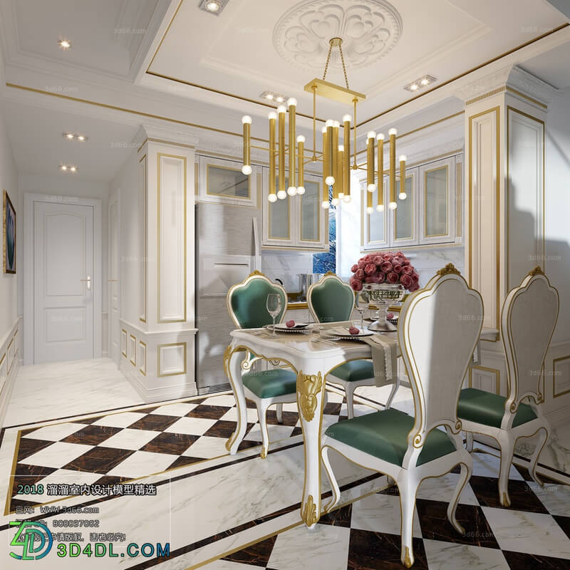 3D66 2018 Dining room kitchen European style D006