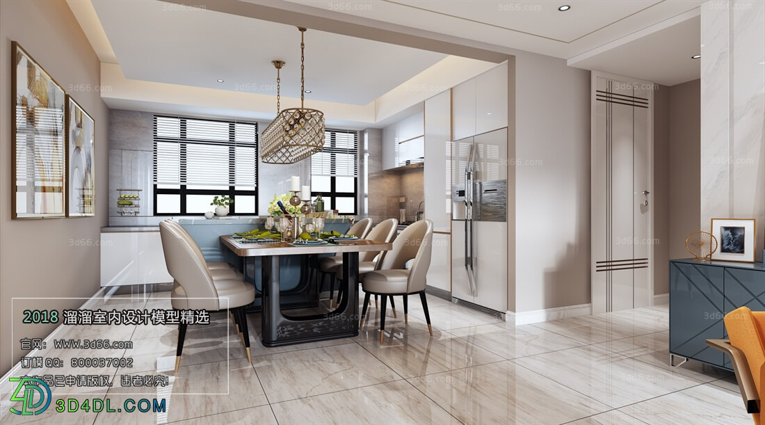 3D66 2018 Dining room kitchen Modern style A003