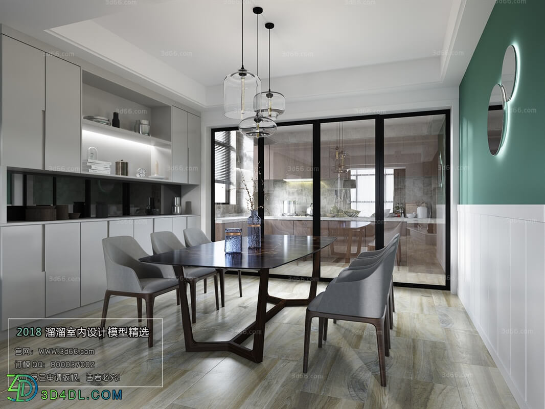 3D66 2018 Dining room kitchen Modern style A014
