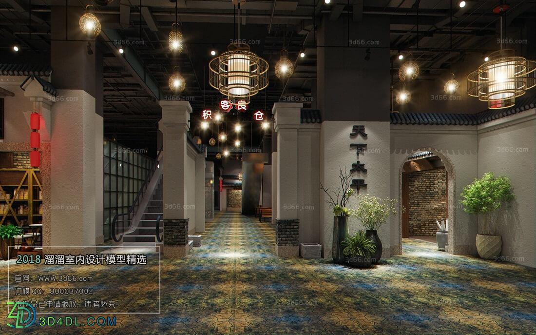 3D66 2018 Elevator Corridor Chinese style C019