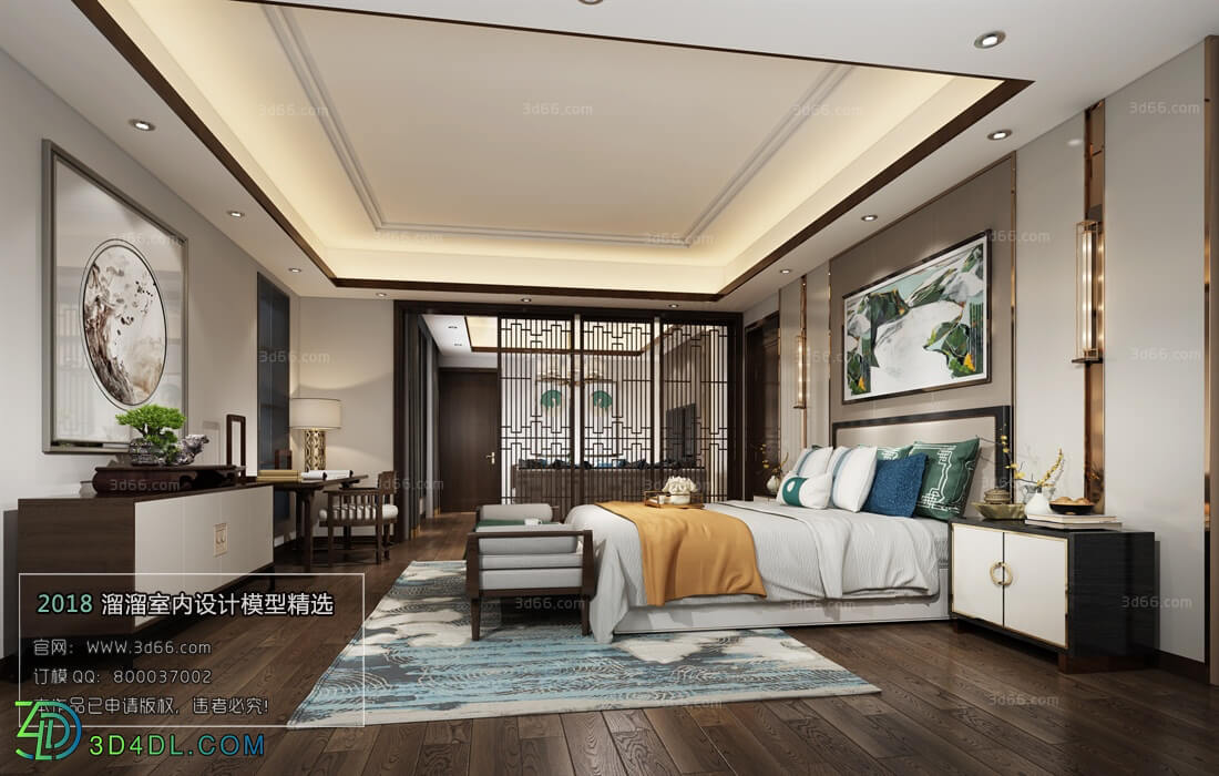 3D66 2018 bedroom Chinese style C008