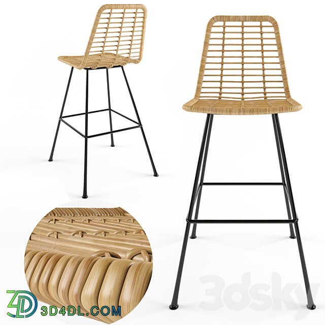 Chair - Rattan bar stool Costa
